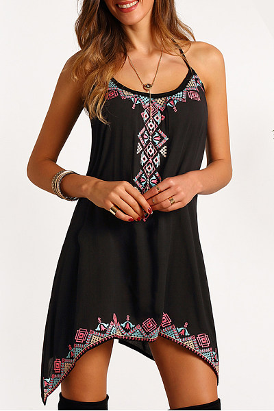 Halter Asymmetric Hem Printed Flared Casual Dress
