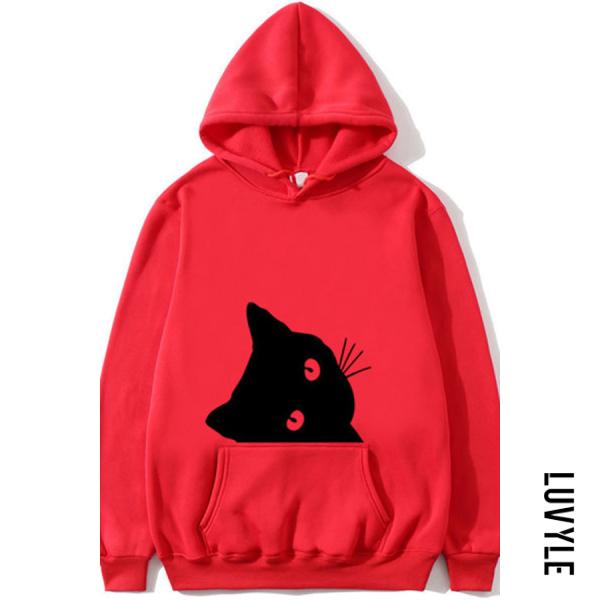 Red Casual Cat Print Plus Fleece Long-sleeved Hoodie Red Casual Cat Print Plus Fleece Long-sleeved Hoodie