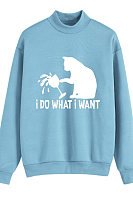 Short Turtleneck Long Sleeve Cat Print Sweatshirt