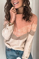 Casual Contrast Color Stitching Sweater