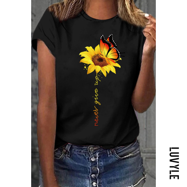 Black Casual Round Collar Butterfly Sun Flower Short Sleeve T-Shirt Black Casual Round Collar Butterfly Sun Flower Short Sleeve T-Shirt