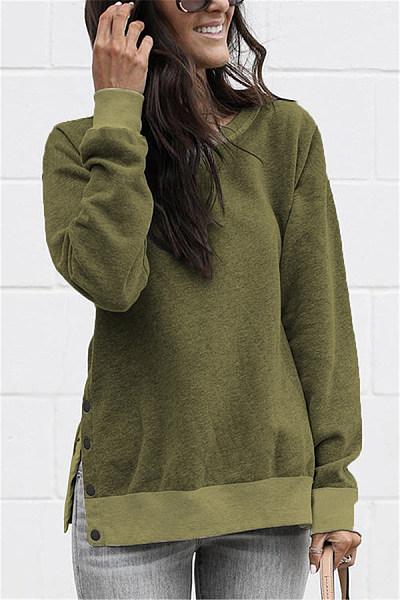 Fashion Round Neck Button Long Sleeves Sweatshirt