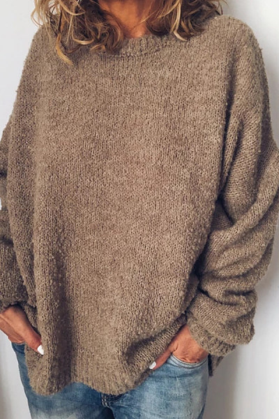 Round Neck Loose-Fitting Plain Casual Sweater