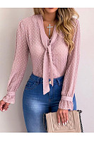 Fashion Tie Collar Chiffon Shirts