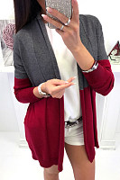 Snap Front  Patchwork Casual  Cardigans
