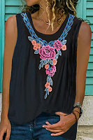 Embroidery Floral Round Neck Vest
