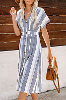 V Neck  Single Breasted  Striped  Short Sleeve Maxi Dresses