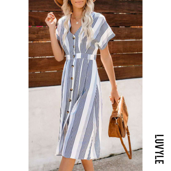 Same As Photo V Neck Single Breasted Striped Short Sleeve Maxi Dresses Same As Photo V Neck Single Breasted Striped Short Sleeve Maxi Dresses
