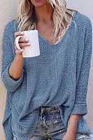 Ladies V Neck Loose-Fitting Plain Sweater