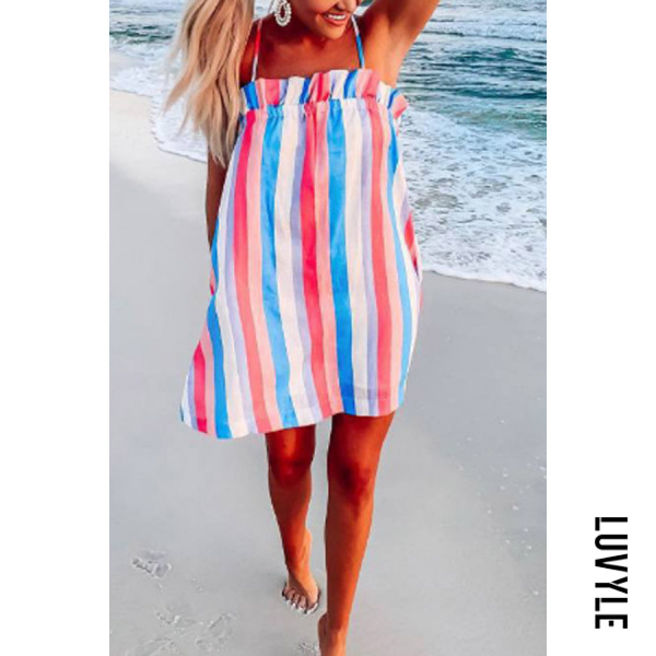 Multi Spaghetti Strap Smocked Bodice Stripes Casual Dresses Multi Spaghetti Strap Smocked Bodice Stripes Casual Dresses