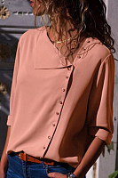 Asymmetric Neck  Plain Casual Blouses