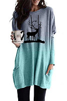 Forest deer print gradient long-sleeved casual pocket T-shirt