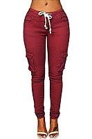 Flap Pocket  Belt  Plain Pants