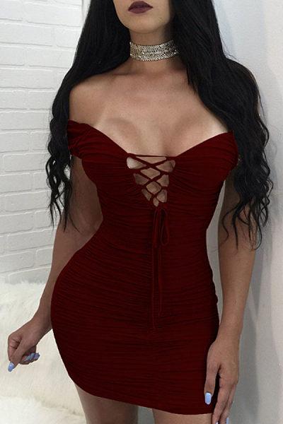 Deep V Neck Off Shoulder  Backless Lace Up Zipper Bodycon Dresses