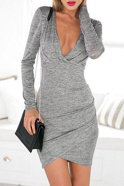 Surplice  Asymmetric Hem Backless  Long Sleeve Bodycon Dresses