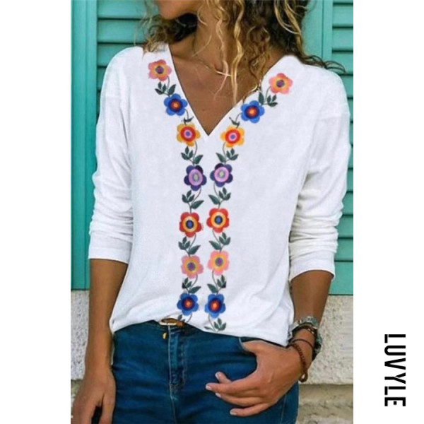 Fashion V Neck Long Sleeve Splicing Printed Color T-shirt