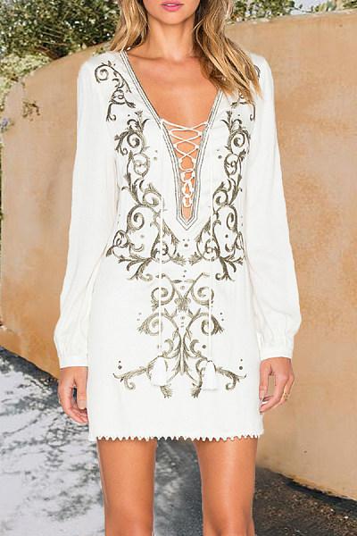 Deep V Neck  Lace Up  Plain Bodycon Dresses