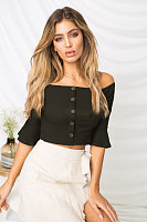 Off Shoulder  Single Breasted  Plain T-Shirts