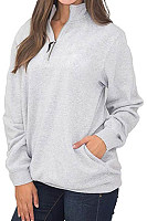 Turtle Neck  Zipper  Plain  Sweatshirts