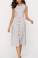 Round Neck  Single Breasted  Striped  Sleeveless Bodycon Dresses