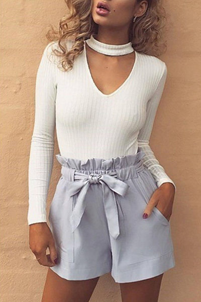 V Neck Choker Sweaters