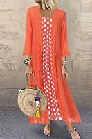 Fashion Round Neck Polka Dot Two-Piece Dress