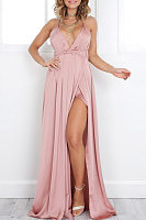 Deep V Neck Slit Sleeveless Maxi Dresses