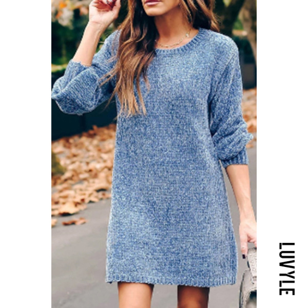 Casual Round Neck Long Sleeve Loose Knit Dress - from $33.00