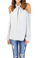 Halter Open Shoulder  Plain Shirts