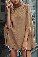 High Collar Cape Sleeve Plain Sweater