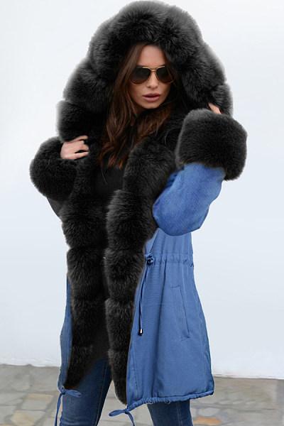 Noble Temperament Stitching Imitation Mane Fluffy Coat