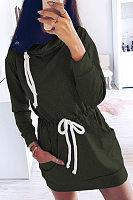 Heap Collar Long Sleeve Plain Casual Dress