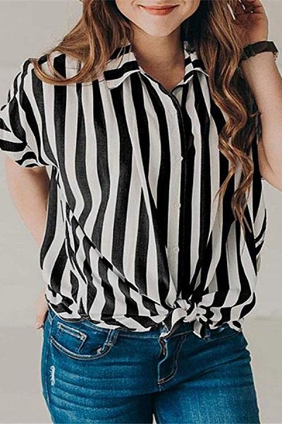Lapel Short Sleeve Stripes Casual Blouses