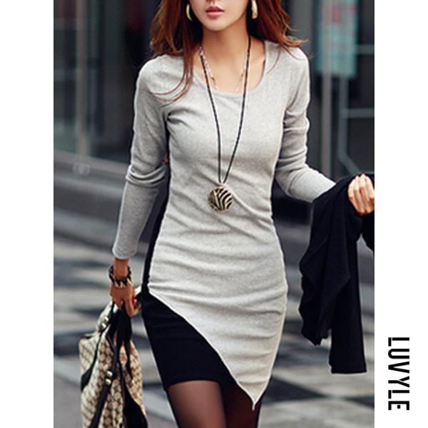 Gray Round Neck Asymmetric Hem Color Block Bodycon Dresses Gray Round Neck Asymmetric Hem Color Block Bodycon Dresses
