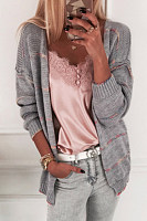 Casual Loose-Fitting Striped Cardigan