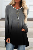 Irregular Collar Long Sleeve Gradient T-shirt