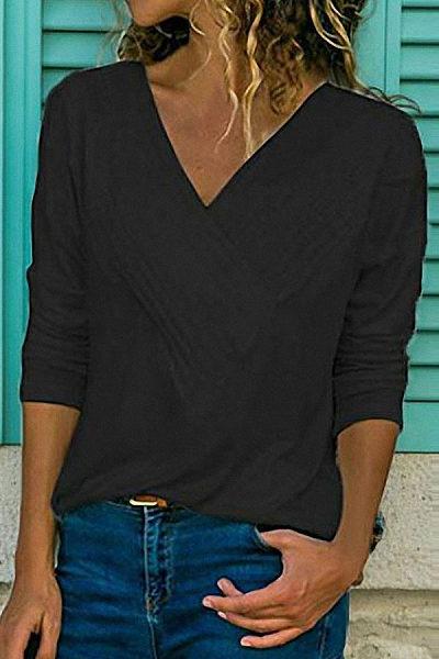 Brief V Neck Long Sleeve Plain Casual Shirt
