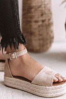 Plain  Ankle Strap  Peep Toe  Casual Date Travel Wedge Sandals