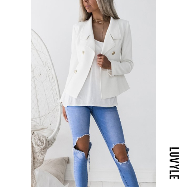 Turn Down Collar Double Breasted Plain Blazers