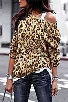 Fashion Leopard Printed Long Sleeved T-Shirts(Camisole is excluded)