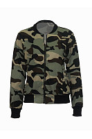 Band Collar Pocket  Camouflage Bomber Jacket