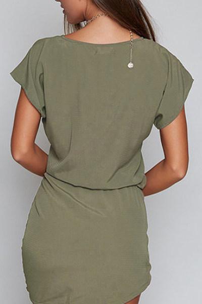 Round Neck  Bow  Belt  Plain  Batwing Sleeve  Extra Short Sleeve Casual Dresses