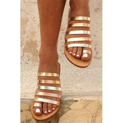Plain  Flat  Peep Toe  Casual Flat Sandals