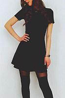 Round Neck  Plain  Short Sleeve Skater Dresses