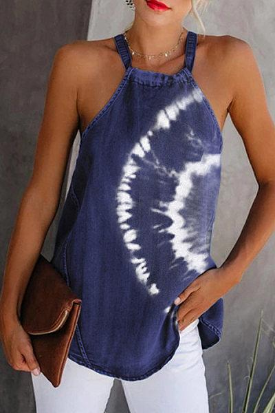 Women's Tie-Dye Strapless Sleeveless Vest