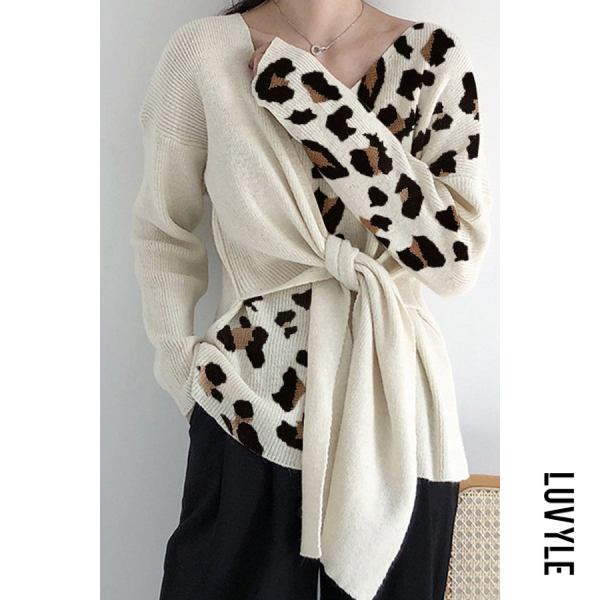 Fashion Leopard Colorblock Sweater - from $30.00