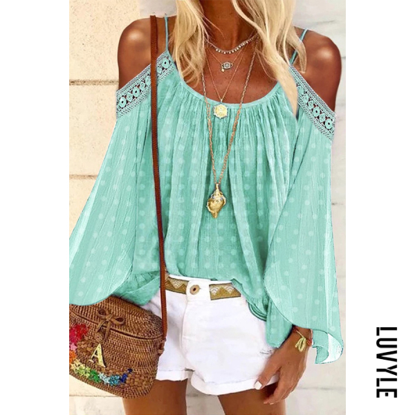 Light Green Sexy Solid Color Lace Off Shoulder T-Shirt Light Green Sexy Solid Color Lace Off Shoulder T-Shirt