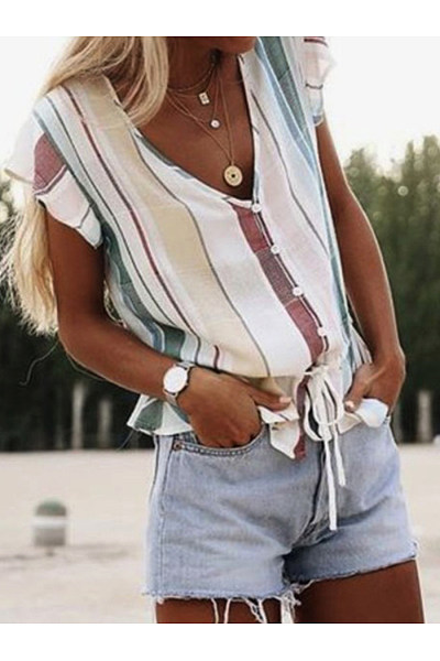 V-Neck Striped Sleevless Single Breasted Blouse