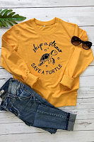 Casual Basic Loose Round Neck Print Sweatshirt