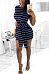 Round Neck  Belt  Striped  Short Sleeve Bodycon Dresses